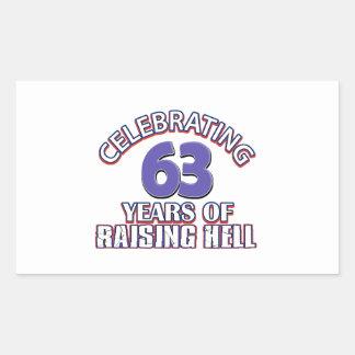 63 birthday Designs Rectangular Sticker