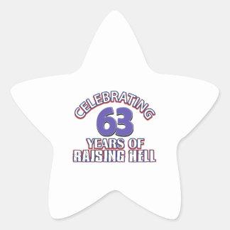 63 birthday Designs Star Sticker