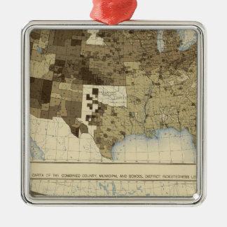 63 impuestos, endeudamiento 1890 adorno navideño cuadrado de metal