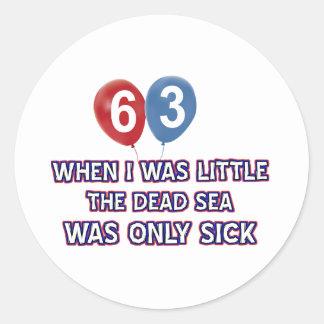 63 year old dead sea birthday designs classic round sticker
