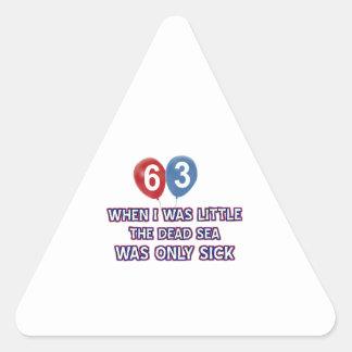 63 year old dead sea birthday designs triangle sticker