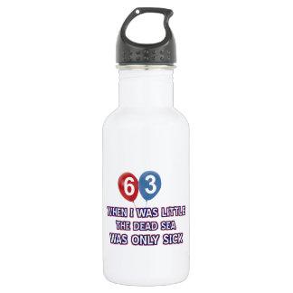 63 year old dead sea birthday designs water bottle