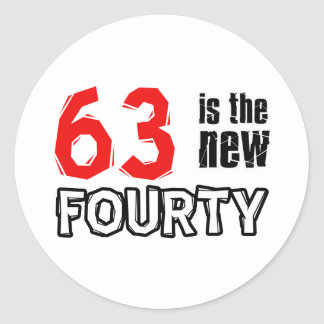 63 year old designs classic round sticker