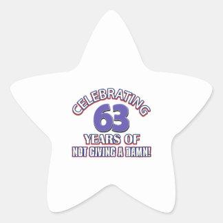 63 year old designs star sticker