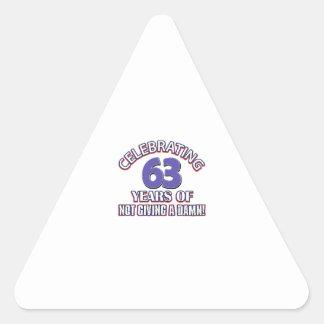 63 year old designs triangle sticker