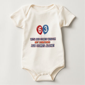 63 year old wisdom birthday designs baby bodysuit