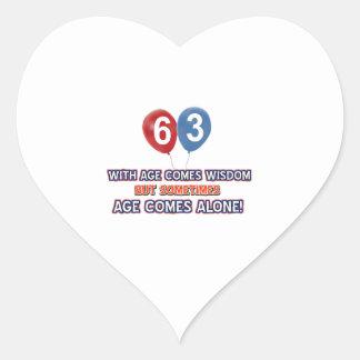 63 year old wisdom birthday designs heart sticker