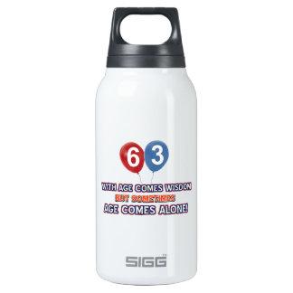 63 year old wisdom birthday designs insulated water bottle