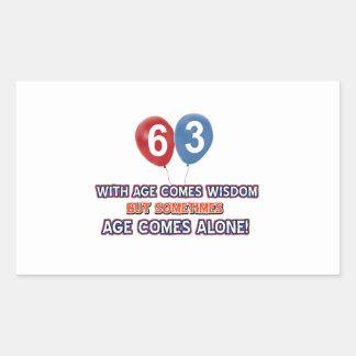 63 year old wisdom birthday designs rectangular sticker