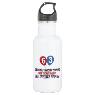63 year old wisdom birthday designs stainless steel water bottle