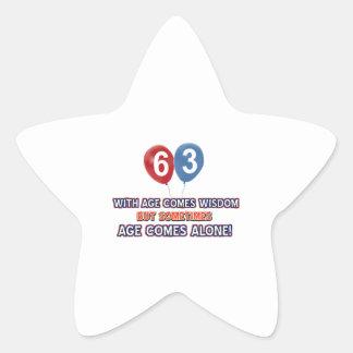 63 year old wisdom birthday designs star sticker
