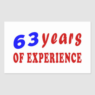 63 years of experience rectangle stickers
