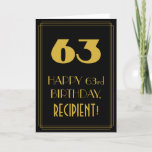 "[ Thumbnail: 63rd Birthday – Art Deco Inspired Look ""63"" & Name Card ]"