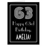 "[ Thumbnail: 63rd Birthday — Art Deco Inspired Look ""63"" + Name Card ]"