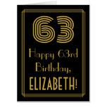 "[ Thumbnail: 63rd Birthday: Art Deco Inspired Look ""63"" + Name Card ]"