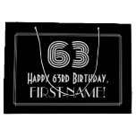 "[ Thumbnail: 63rd Birthday — Art Deco Inspired Look ""63"" & Name Gift Bag ]"