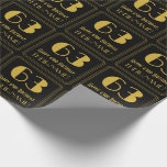 """[ Thumbnail: 63rd Birthday ~ Art Deco Inspired Look """"63"""", Name Wrapping Paper ]"""