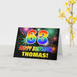 [ Thumbnail: 63rd Birthday: Bold, Fun, Fireworks, Rainbow 63 Card ]