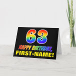 [ Thumbnail: 63rd Birthday: Bold, Fun, Simple, Rainbow 63 Card ]