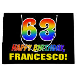 [ Thumbnail: 63rd Birthday: Bold, Fun, Simple, Rainbow 63 Gift Bag ]