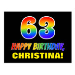 [ Thumbnail: 63rd Birthday: Bold, Fun, Simple, Rainbow 63 Postcard ]