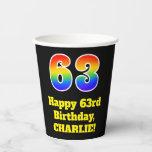 [ Thumbnail: 63rd Birthday: Colorful, Fun, Exciting, Rainbow 63 ]