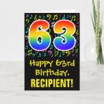 [ Thumbnail: 63rd Birthday: Colorful Music Symbols + Rainbow 63 Card ]