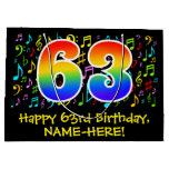 [ Thumbnail: 63rd Birthday - Colorful Music Symbols, Rainbow 63 Gift Bag ]