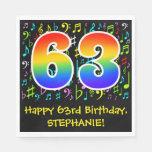 [ Thumbnail: 63rd Birthday - Colorful Music Symbols, Rainbow 63 Napkins ]