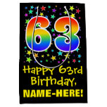 [ Thumbnail: 63rd Birthday: Colorful Stars Pattern & Rainbow 63 Gift Bag ]