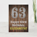 [ Thumbnail: 63rd Birthday: Country Western Inspired Look, Name Card ]