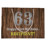 [ Thumbnail: 63rd Birthday: Country Western Inspired Look, Name Gift Bag ]
