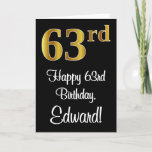 [ Thumbnail: 63rd Birthday ~ Elegant Luxurious Faux Gold Look # Card ]