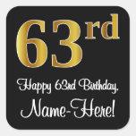 [ Thumbnail: 63rd Birthday – Elegant Luxurious Faux Gold Look # Sticker ]