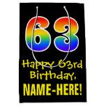 "[ Thumbnail: 63rd Birthday: Fun, Bold, Colorful, Rainbow ""63"" Gift Bag ]"