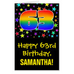 [ Thumbnail: 63rd Birthday: Fun, Colorful Stars + Rainbow # 63 Card ]