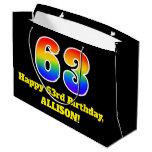 [ Thumbnail: 63rd Birthday ~ Fun, Colorful, Vibrant, Rainbow 63 Gift Bag ]