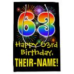 [ Thumbnail: 63rd Birthday: Fun Fireworks Pattern + Rainbow 63 Gift Bag ]