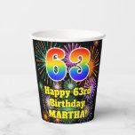 [ Thumbnail: 63rd Birthday: Fun Fireworks Pattern + Rainbow 63 ]