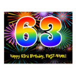 [ Thumbnail: 63rd Birthday – Fun Fireworks Pattern + Rainbow 63 Postcard ]