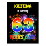 "[ Thumbnail: 63rd Birthday - Fun Fireworks, Rainbow Look ""63"" Postcard ]"