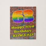 [ Thumbnail: 63rd Birthday: Fun Graffiti-Inspired Rainbow 63 Jigsaw Puzzle ]