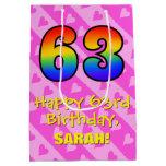 [ Thumbnail: 63rd Birthday: Fun Pink Hearts Stripes; Rainbow 63 Gift Bag ]