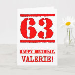 [ Thumbnail: 63rd Birthday: Fun, Red Rubber Stamp Inspired Look Card ]