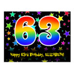 [ Thumbnail: 63rd Birthday: Fun Stars Pattern, Rainbow 63, Name Postcard ]