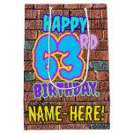 [ Thumbnail: 63rd Birthday: Fun, Urban Graffiti Inspired Look Gift Bag ]