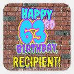 [ Thumbnail: 63rd Birthday – Fun, Urban Graffiti Inspired Look Sticker ]