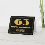 "[ Thumbnail: 63rd Birthday: Name + Art Deco Inspired Look ""63"" Card ]"