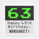 """[ Thumbnail: 63rd Birthday - Nerdy / Geeky Style """"63"""" & Name Napkins ]"""