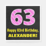 "[ Thumbnail: 63rd Birthday: Pink Stripes and Hearts ""63"" + Name Napkins ]"
